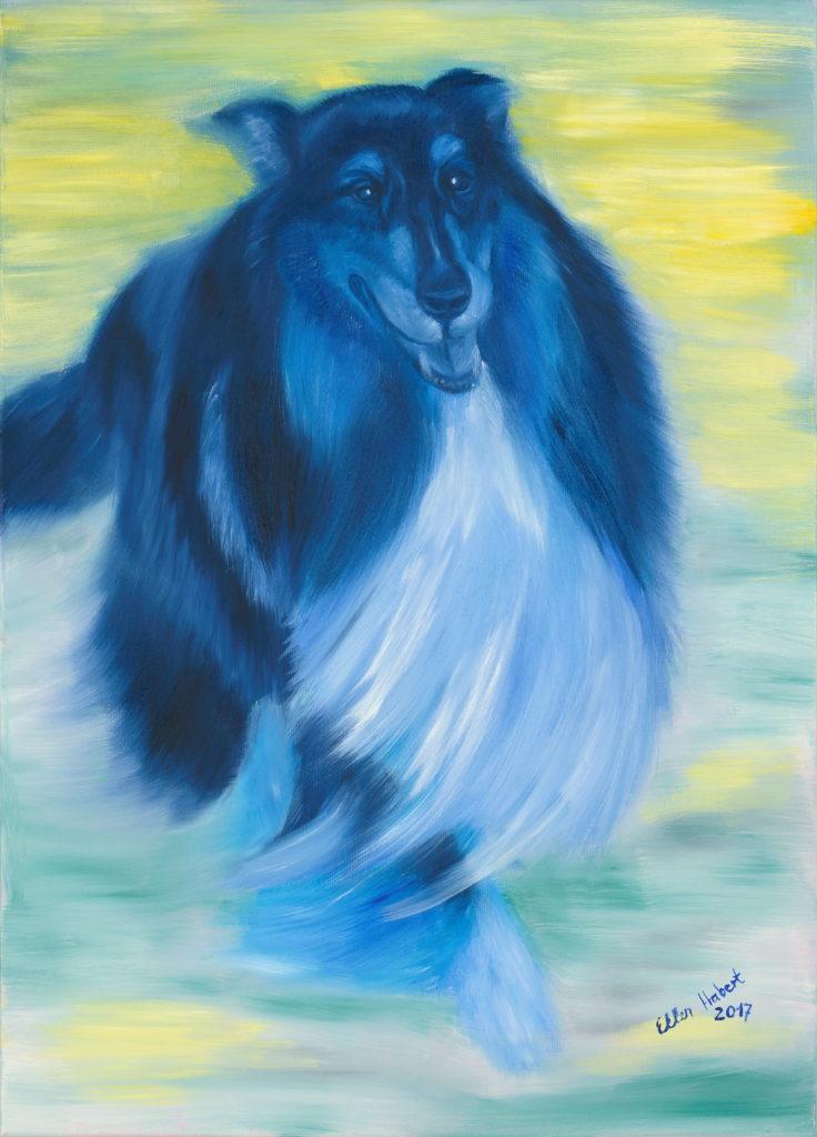 Hund surrealistisch, Pferde in Farbe