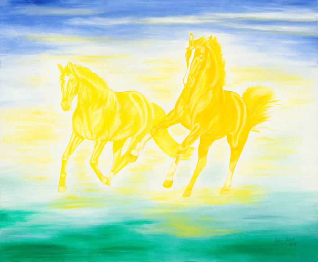 gelbe Pferde im Wasser