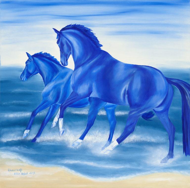 blaue Pferde im Wasser